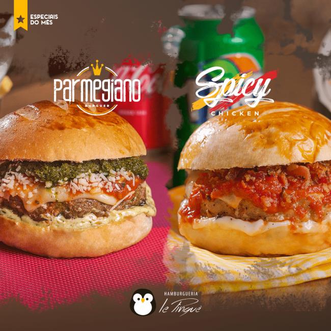 Especiais do Mês - Parmegiano Burguer e Spicy Chicken